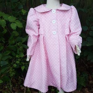 Bonnie Jean Pink Polka Dot Coat Toddler Girls 3T